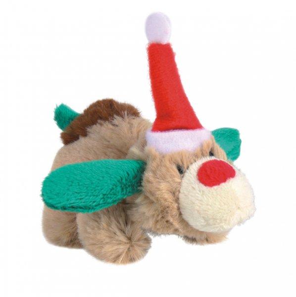 Vánoční plyšový sob-pes s catnipem pro kočky 8 cm