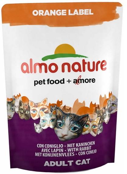 Almo Cat Nat.kočka Dry Orange Label králík 750g