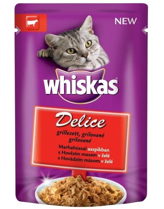 Whiskas kapsa Delice grilované s hovězím 85g