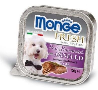 MONGE FRESH - paštika a kousky s jehněčím 100 g pro psy