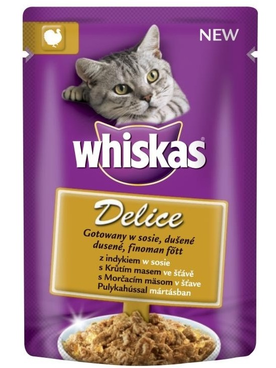 Whiskas kapsa Delice dušené s krůtím ve šťávě 85g
