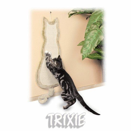 Škrabadlo závěsné tvar kočka 35x69cm - béžové
