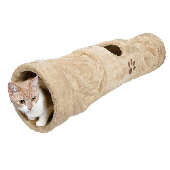 Plyšový tunel pro kočky béžový 25x125cm