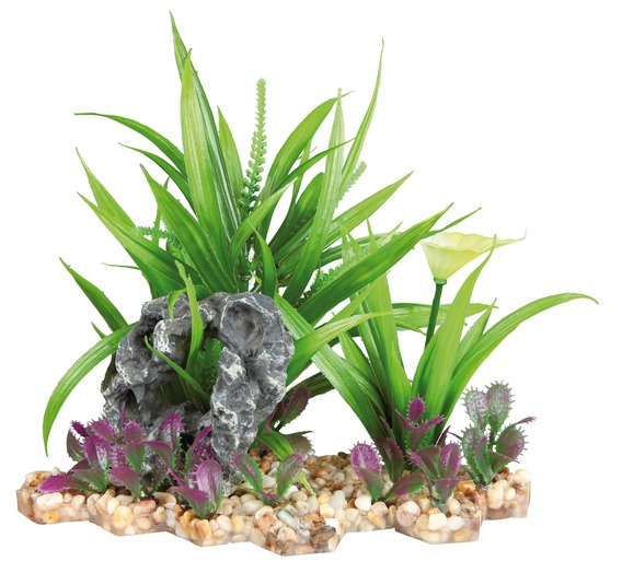 Plastová akvarijní rostlina se sklakou, na podstavci 18 cm
