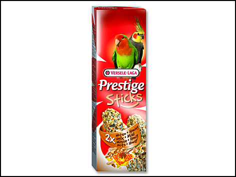 Tyčinky Prestige ořechy a med pro střední papoušky 140g