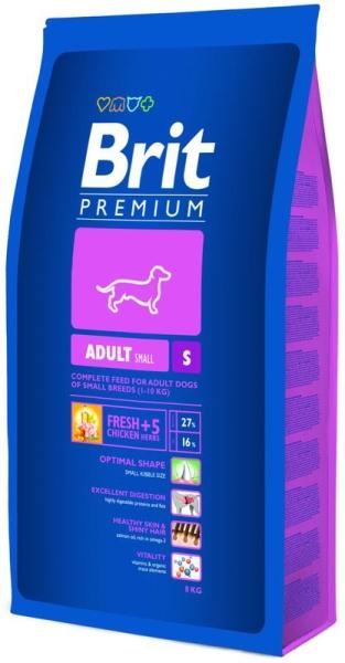 Brit Premium Dog Adult S krmivo pro psy 2 balení 8kg