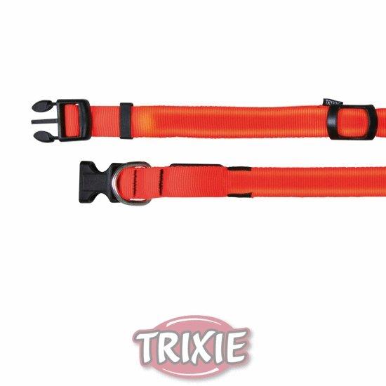 Flash nylonový svítící obojek oranžový SM 30-40 cm / 25 mm