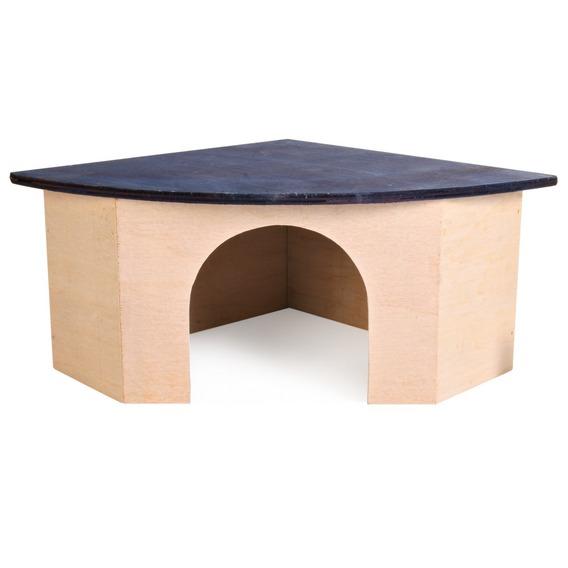 Rohový dř.domek pro morče s modrou střechou 29x13x21/21 cm
