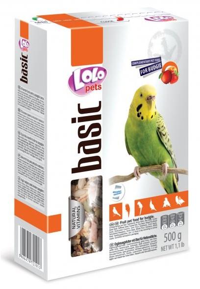 LOLO BASIC kompletní ovocné krmivo pro andulky 500g krabička