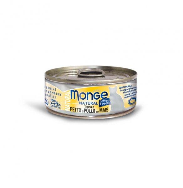 Monge Natural kuřecí maso s kukuřicí pro kočky 80g - Doprodej 7 ks exp. 28.9.2016