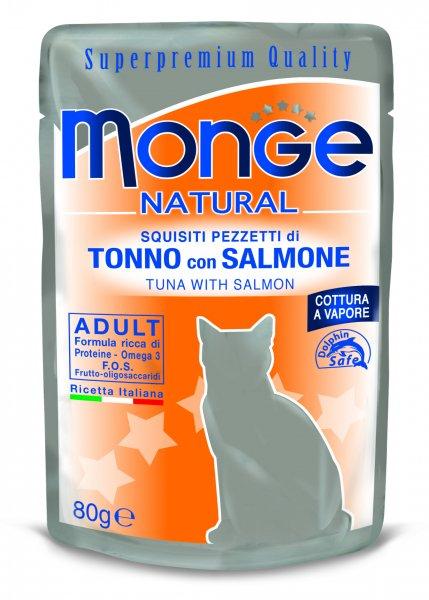 Monge Natural kapsička tuňák v želé s lososem pro kočky 80g 10 ks