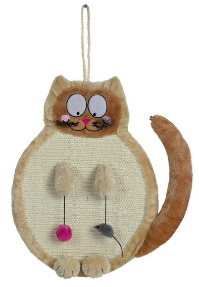 Škrabadlo závěsné tvar KOČKA s hračkam, béžovéi 36x50 cm