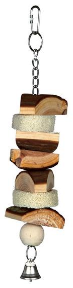 Závěsná hračka z přírodního dřeva a lufou + zvonek 33cm