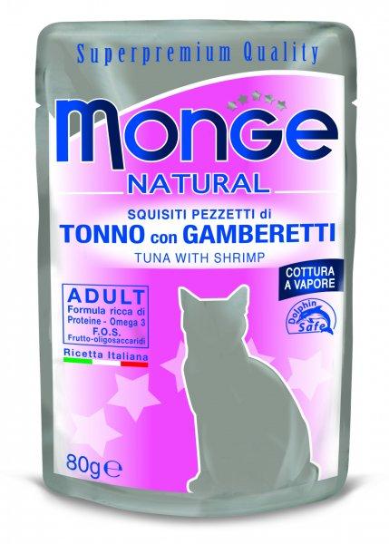 Monge Natural kapsička tuňák v želé s krevetami pro kočky 80g exp. 26.8.2016