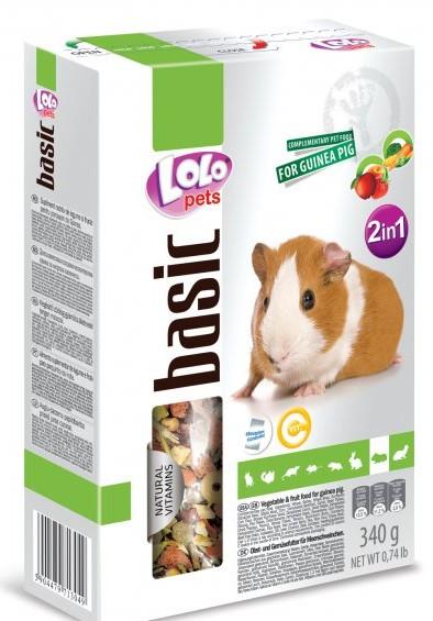 LOLO BASIC 2v1 zelen.a ovocné krmivo pro morčata 500g krabič
